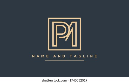 Alphabet letters monogram icon logo PM or MP