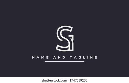 alphabet letters monogram icon logo SI or IS