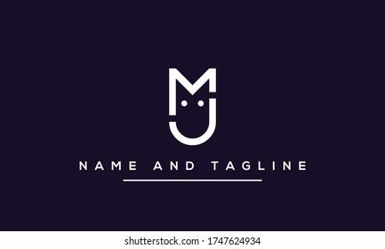 Alphabet letters monogram icon logo MJ or JM