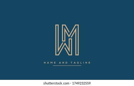 alphabet letters monogram icon logo WM or MW
