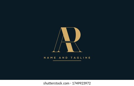 alphabet letters monogram icon logo AR or RA