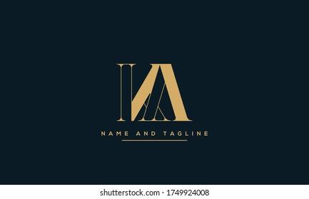 alphabet letters monogram icon logo AK or KA
