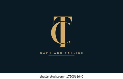 alphabet letters monogram icon logo CT or TC