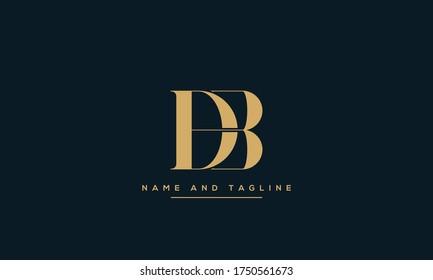alphabet letters monogram icon logo DB or BD