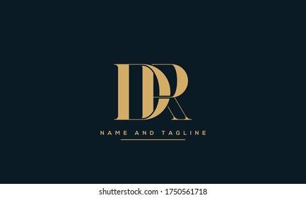 alphabet letters monogram icon logo DR or RD
