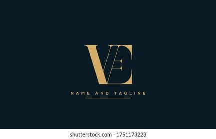 alphabet letters monogram icon logo EV or VE