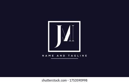 alphabet letters monogram icon logo JM or MJ