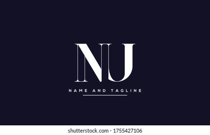 alphabet letters monogram icon logo NU or UN
