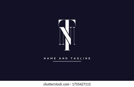 alphabet letters monogram icon logo NT or TN