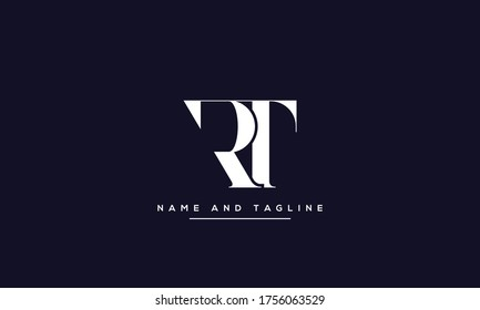 alphabet letters monogram icon logo RT or TR