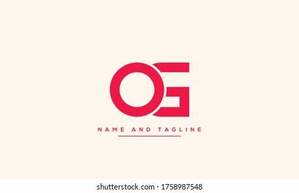 alphabet letters monogram icon logo GO or OG
