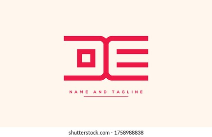 alphabet letters monogram icon logo DE or ED