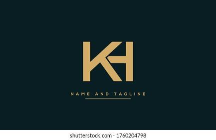 alphabet letters monogram icon logo HK or KH