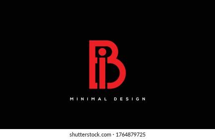 alphabet letters monogram icon logo BI or IB