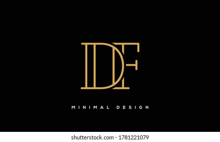 alphabet letters monogram icon logo DF or FD