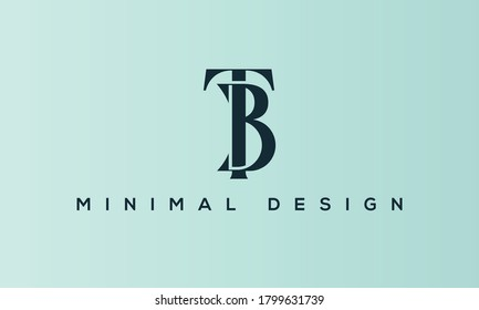alphabet letters monogram icon logo BT or TB