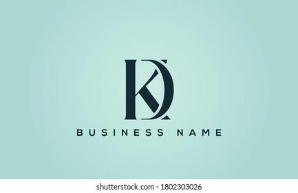 alphabet letters monogram icon logo DK or KD