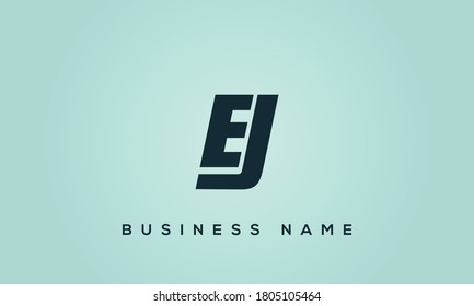 alphabet letters monogram icon logo EJ or JE