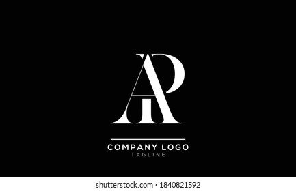 alphabet letters monogram icon logo AP or PA
