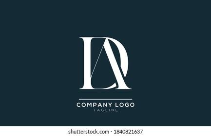 alphabet letters monogram icon logo AD or DA