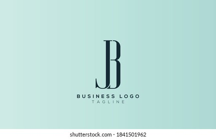 alphabet letters monogram icon logo BJ or JB