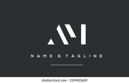 Alphabet letters monogram logo AM,MA,A and M