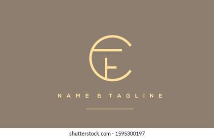 Alphabet letters monogram logo CF,FC,C and F  symbol icon