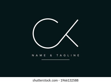 Alphabet letters monogram logo CK or KC