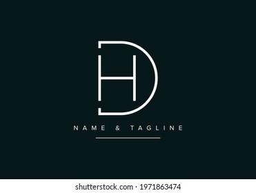 Alphabet letters monogram logo DH or HD