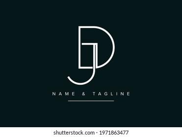 Alphabet letters monogram logo DJ or JD