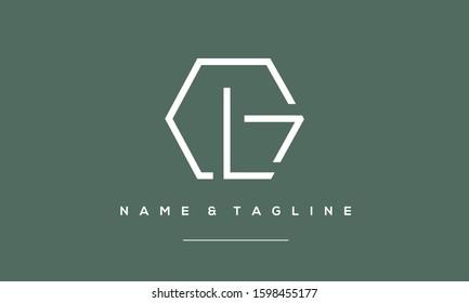 Alphabet letters monogram logo GL,LG,L and G