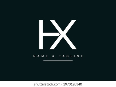 Alphabet letters monogram logo HX or XH