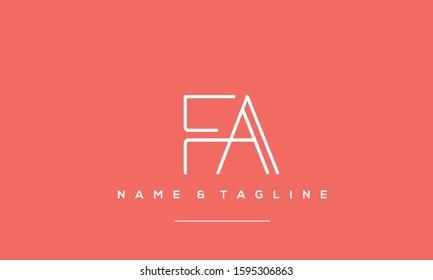 Alphabet letters monogram logo icon FA,FA,A and F
