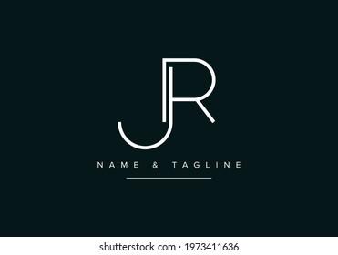 Alphabet letters monogram logo JR or RJ