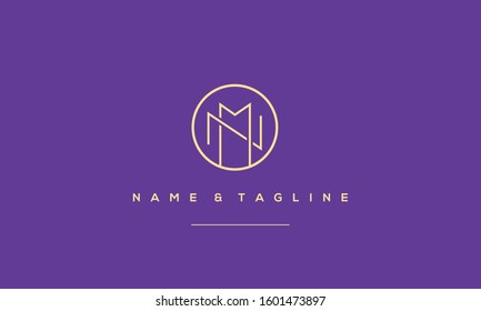 Alphabet letters monogram logo MN,NM,N and M