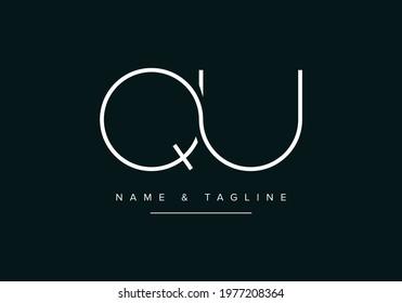 Alphabet letters monogram logo QU or UQ