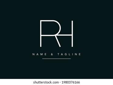 Alphabet letters monogram logo RH or HR