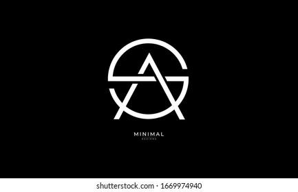 Alphabet letters monogram logo  SA or AS