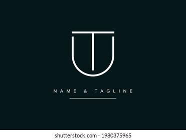 Alphabet letters monogram logo UT or TU