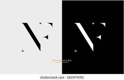 Alphabet Letters NF, FN Logo Emblem Monogram