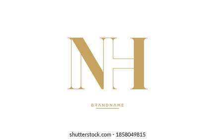 Alphabet Letters NH, HN Logo Emblem Monogram