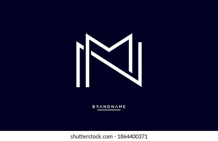 Alphabet Letters NM, MN Logo Emblem Monogram