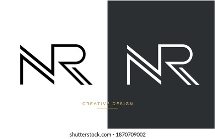 Alphabet Letters NR, RN Logo Emblem Monogram