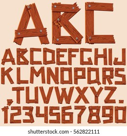 Alphabet Letters with Numbers from Rough Wooden Planks. Vector Clip Art