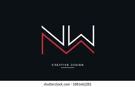 Alphabet Letters NW, WN Abstract logo Emblem Monogram