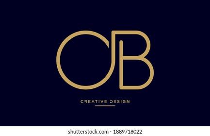 Alphabet Letters OB or BO Logo Monogram