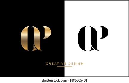 Alphabet Letters OP or PO Abstract Icon logo
