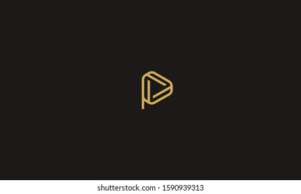 Alphabet letters P logo with a Play button sign