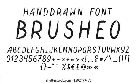 Alphabet letters. Painted ABC Font Brush Strokes Handwritten font. Calligraphic script vector
