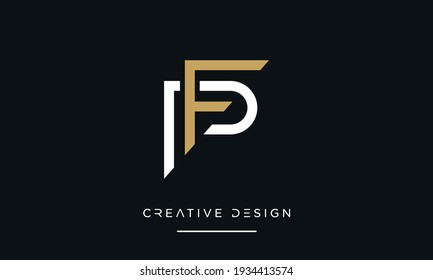 Alphabet letters PF or FP Abstract Icon Logo Emblem monogram